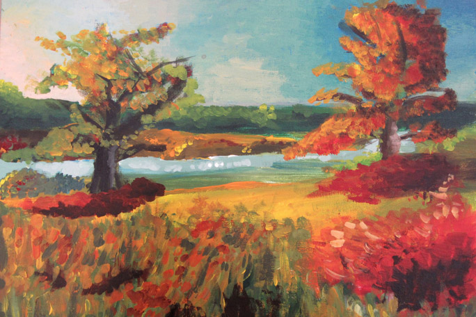 Painting of fall scenery with river