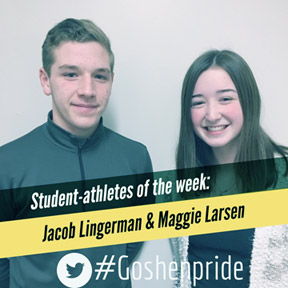 Jacob Lingerman and Maggie Larsen smiling.