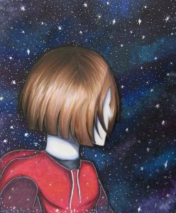 Drawing of girl looking at the stars.