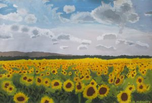 Painting of a field of sunflowers.