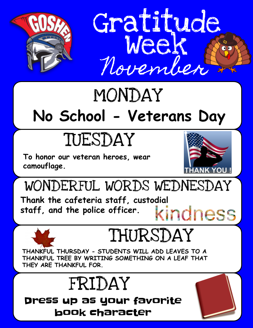 Flyer describing Gratitude Week activities