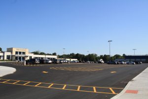 View of parking lot and main entrance