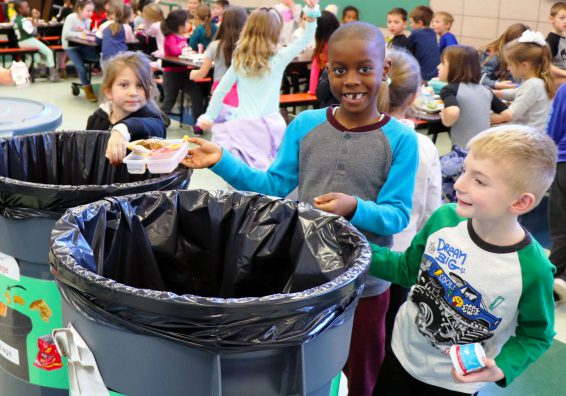 Students recycling in the cafeteria