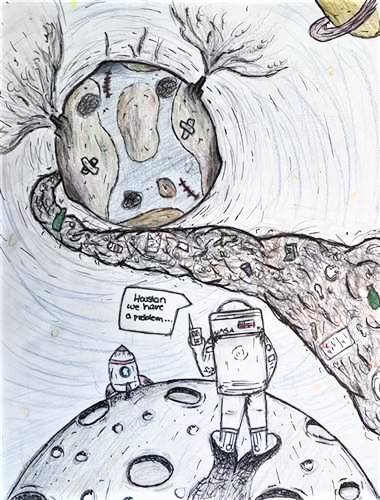 "Drawing/illustration depicting an astronaut standing on top of the moon, lokking out to a bruised and patched planet Earth that's spewing trash and smoke. The astronaut is radioing Earth, saying, ""Houston, we have a problem."